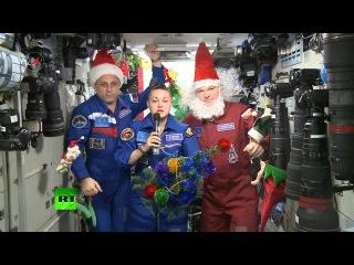 Российские космонавты на МКС поздравили россиян с Новым 2015 годом